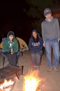 Katie, Dilgara and Yi-Hung enjoying the fire
